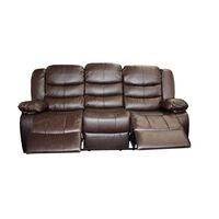 3 Seater Recliner Couch Lounge Brown Bonded Leather