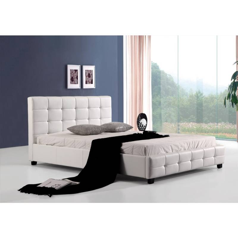 Double Size PU Leather Quilted Bed Frame in White | Buy Double Bed ...
