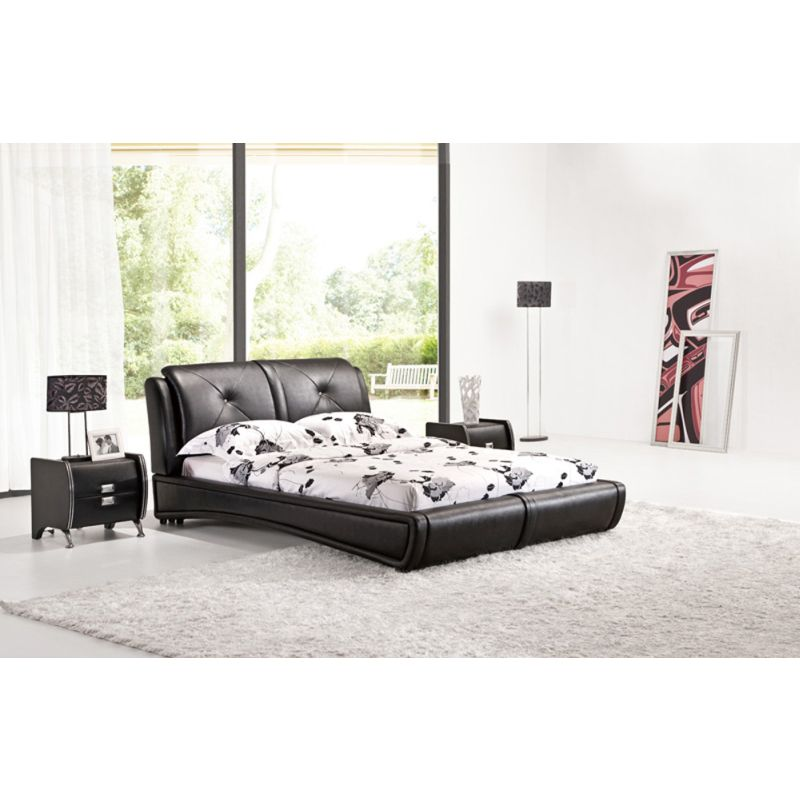 Queen Size Low Bed Frame in Black PU Leather | Buy Queen Bed Frame ...