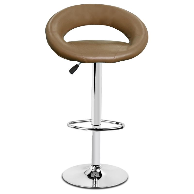 2x Round Slim Back PU Leather Bar Stool In Brown