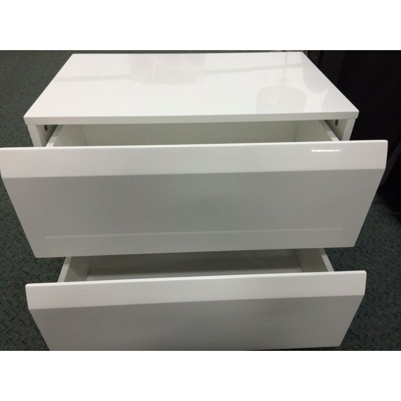2 drawer handleless bedside table gloss white buy white for Buy white bedside table