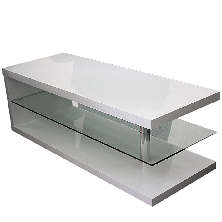Modern Rectangle Coffee Table In White MDF & Glass