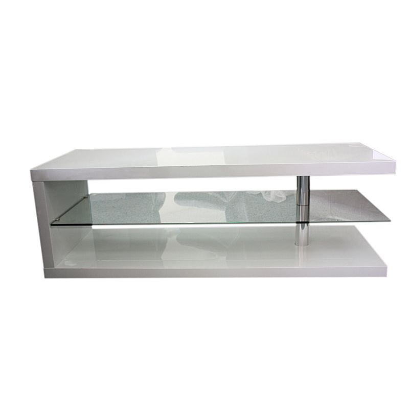 Contemporary Glass Rectangle Coffee Table: Modern Rectangle Coffee Table In White MDF & Glass