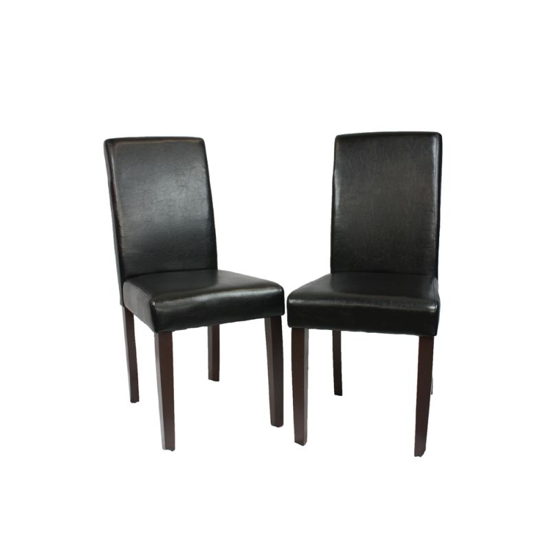 2 black faux leather high back dining room chairs buy for Black leather dining room chairs