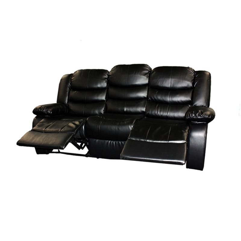 3 Seat Bonded Leather Recliner Lounge Sofa In Black Buy