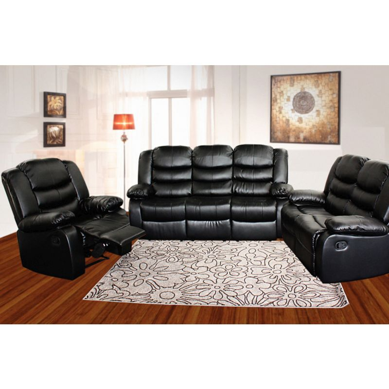 3 Seat Bonded Leather Recliner Lounge Sofa in Black  sc 1 st  MyDeal : 3 seater recliner lounge - islam-shia.org