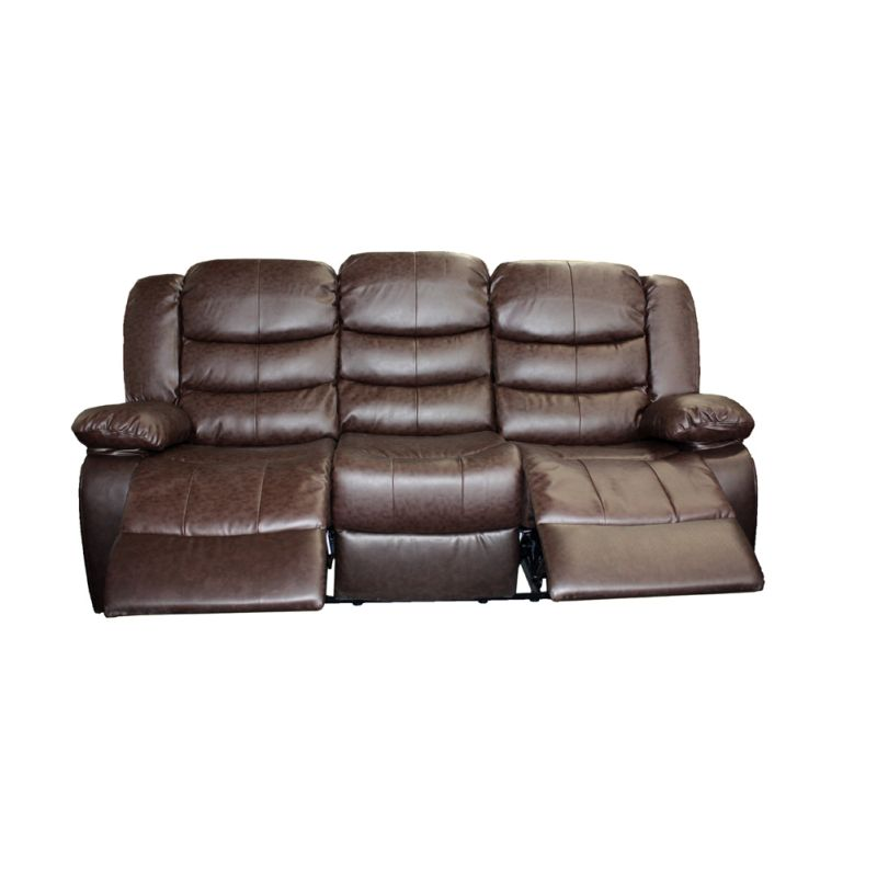 3 Seater Recliner Couch Lounge Brown Bonded Leather | Buy ...