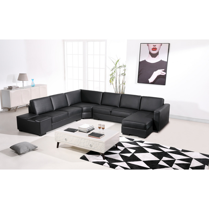 Diva 6 Seater Bonded Leather Sofa Lounge In Black Buy Couches 198130