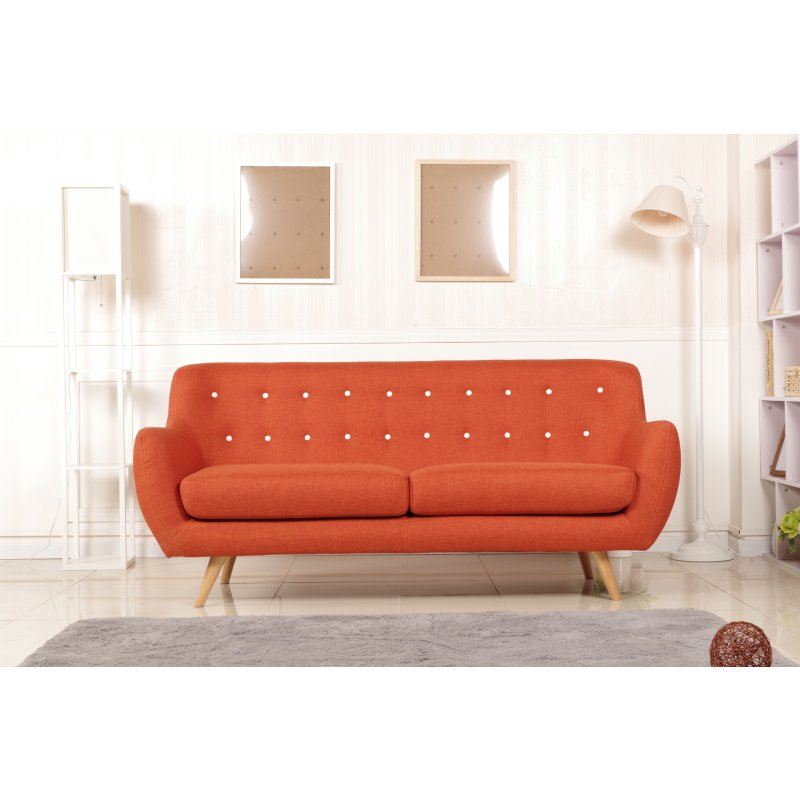 The Sixty 3 Seater Fabric Sofa Lounge In Orange Buy Sofas