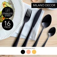 Milano Decor Cutlery Sets in Black or Rose Gold