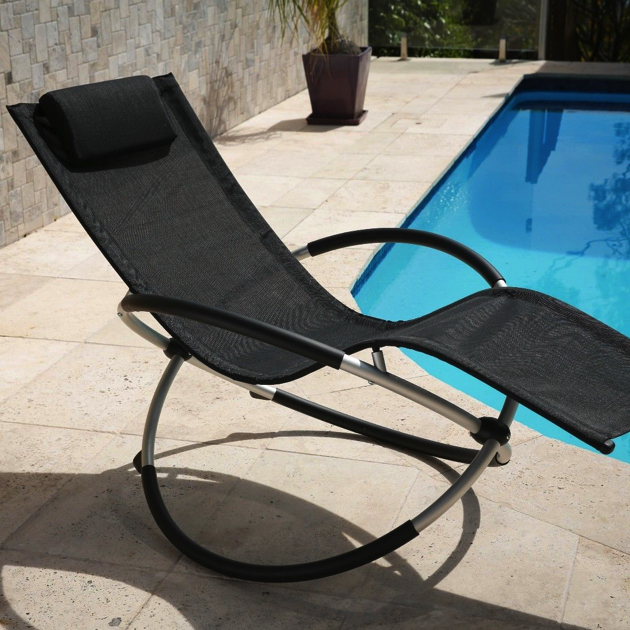 Zero Gravity Foldable Outdoor Rocking Chair Black