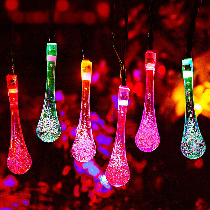 Solar Powered Water Drop LED String Lights Multicolour ...