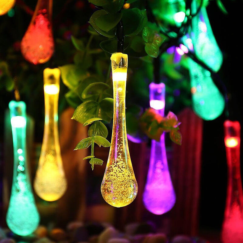Solar Powered Water Drop Led String Lights Multicolour
