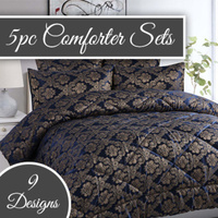 European Inspired 5 Piece Bedspread Comforter Sets