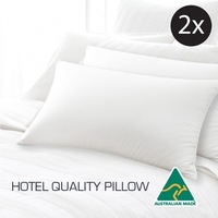 2x Hotel Quality Polyester & Cotton Pillows 45x72cm
