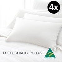 4x Polyester & Cotton Hotel Quality Pillows 45x72cm