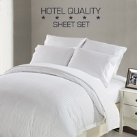 King Single Hotel Quality Sheet Set in White Stripe