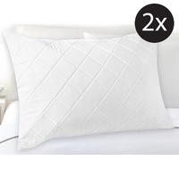 2x Standard Fibre & Cotton Quilted Pillow Protector
