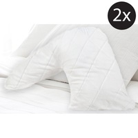 2x V-Shaped Fibre & Cotton Quilted Pillow Protector