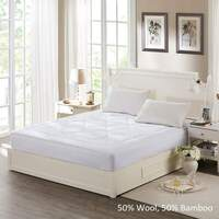 King Single Wool & Bamboo Fitted Mattress Topper