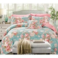 Flora Design Quilt Cover Set in Green