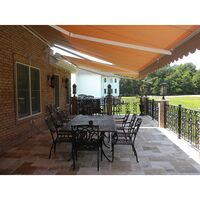 Outdoor Retractable Fabric Awning Beige 3.95x2.5m