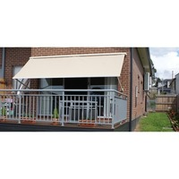 Outdoor Pivot Arm Roller Blind Awning in Beige 2.5m