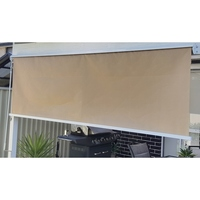 Outdoor Retractable Window Roller Blind Beige 2.5m²