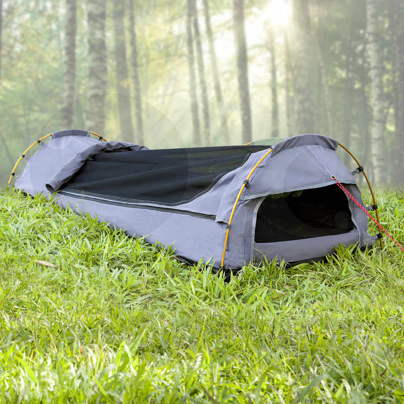 h m s Remaining & Dynamic Power Single Canvas Biker Swag Tent in Grey | Buy Single Swags