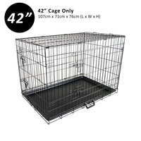 2 Door Collapsible Metal Dog Cage Travel Crate 42in