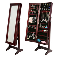 Mirror Jewellery Cabinet Storage Organiser Walnut