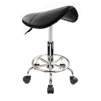 Black Saddle Salon Stool Chair with Hydraulic Lift