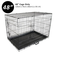 2 Door Collapsible Metal Dog Cage Travel Crate 48in