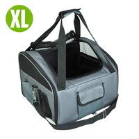 Grey Puppy Pet Car Seat Carrier Dog Soft Crate L
