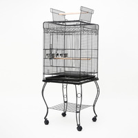 Stylish Bird Cage w/ Outer Perch & Stand 145cm