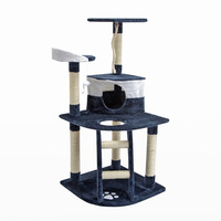 Cat Scratching Post House w/ Ladder Blue 120cm