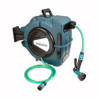 Outdoor Auto Rewind Garden Hose & Reel in Green 20m