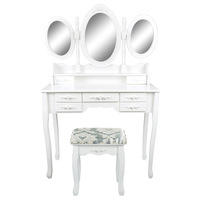 Dressing Table 7 Drawers 3 Mirrors - JULIA WHITE
