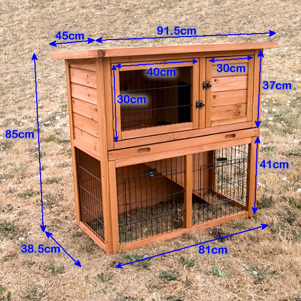 Double storey wooden rabbit hutch guinea pig cage buy for Buy guinea pig cage