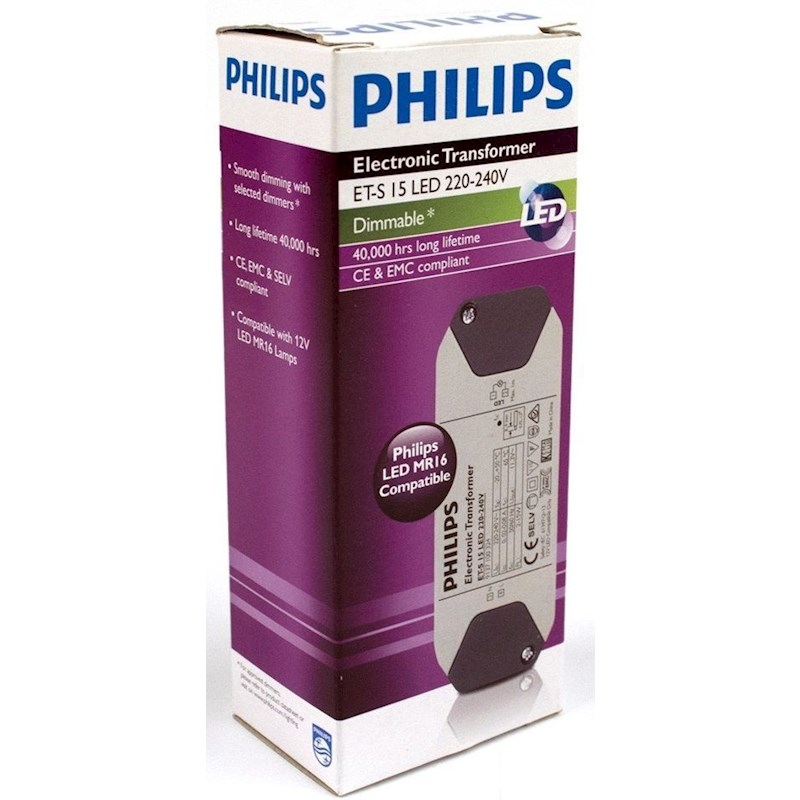 1 x philips dimmable led transformer mr16 compatible (et s 15w