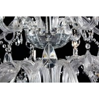 French Provincial Glass 18 Arm Chandelier in Silver