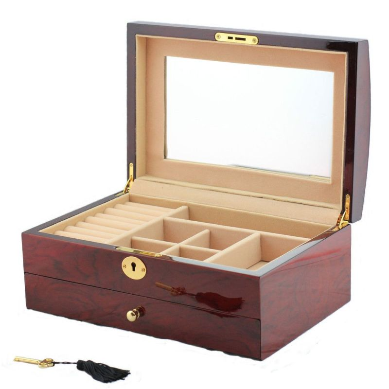 Wooden jewellery box with velvet lining and mirror buy for Mirror jewellery box