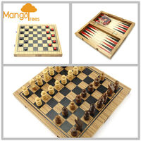 3 in 1 Wooden Backgammon Checker & Chess Board Set