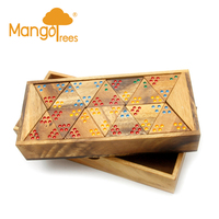 56 Piece Wooden Triangle Dominoes Game Set with Box