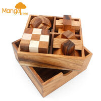 Beta 4pc Wood Brain Teaser 3D Puzzles Gift Box Set