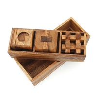 3 Piece Wooden Brain Teaser 3D Puzzles Gift Box Set