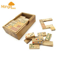 56pc Wooden Double Nine Dominoes Game Set with Box