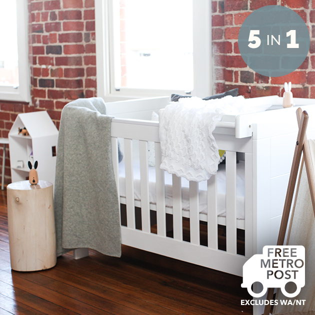-in- Baby Cot Toddler Bed with Change Table White  Buy Cots