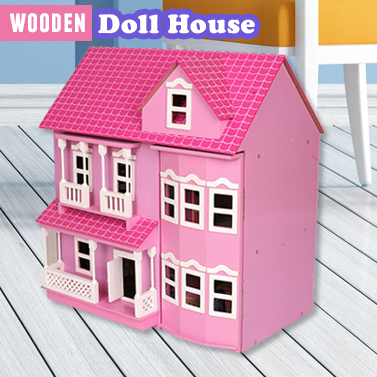 Kids Pink Wooden Victorian Dollhouse With Furniture Buy Dollhouses