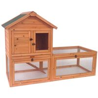 Luxury Wooden Double Rabbit Hutch Pet House w/ Run
